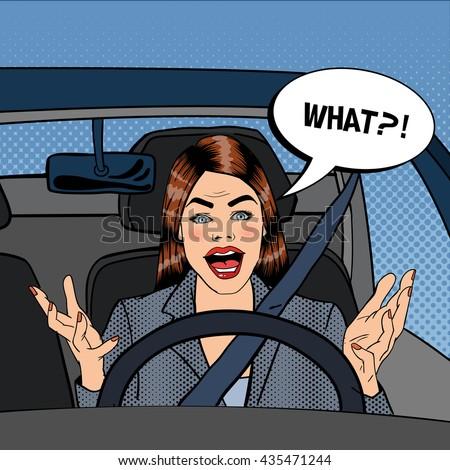 Angry Woman Driver. Aggressive Woman Driving Car. Pop Art. Vector illustration - stock vector