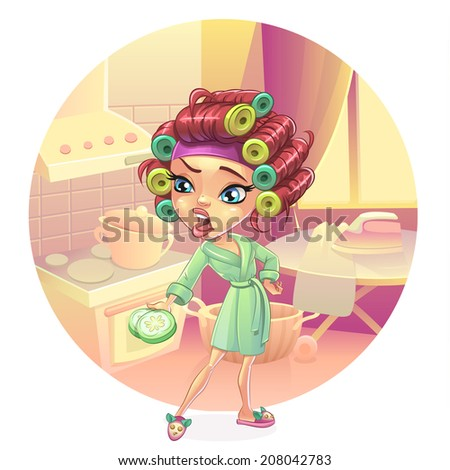 Angry woman housewife preparing breakfast, lunch, dinner, dressed in a pink gown. Skin care facial mask cucumber curlers.  Vector clip art