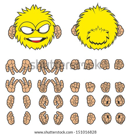 Angry yellow furry monster - stock vector