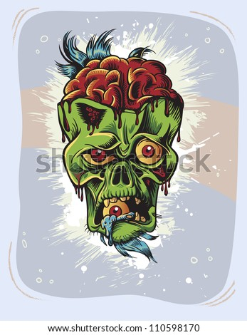 Angry zombie character with eye in it's mouth. Retro poster - stock vector