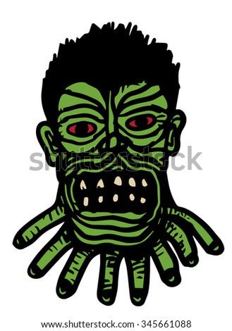 angry zombie head - stock vector