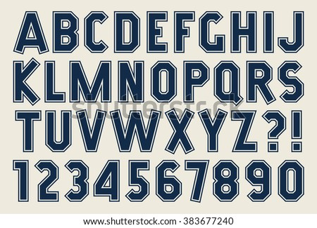 Angular alphabet and number Bold isolated font with contour Sport printing style Strip design Vector abc - stock vector
