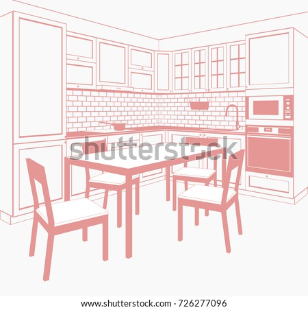 Angular Kitchen With An Oven A Dining Table And Chairs Linear Monochrome Vector