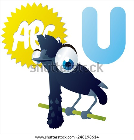 animal abc learning for kids: U is for cute little Umbrella bird, vector illustration set for children, bright colors for flash card game - stock vector