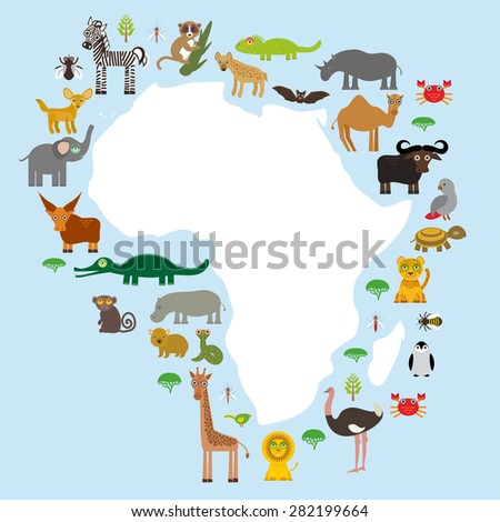 Animal Africa: parrot Hyena Rhinoceros Zebra Hippopotamus Crocodile Turtle Elephant Mamba snake camel mosquito tsetse ostrich lemur Chameleon Monkey Fenech Leo Leopard Giraffe buffalo Penguin. Vector  - stock vector