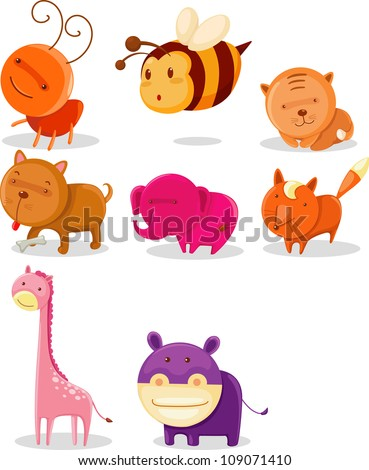 ANIMAL ALPHABET - A-H - stock vector