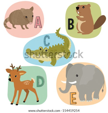 Animal alphabet for kids A-E