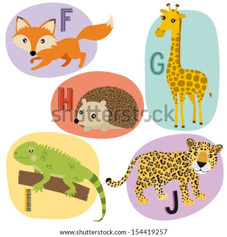 Animal alphabet for kids F-J