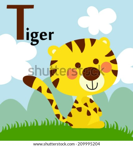 Animal alphabet for the kids: T for the Tiger - stock vector