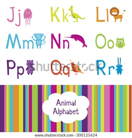 Animal alphabet, J-R letters  - stock vector