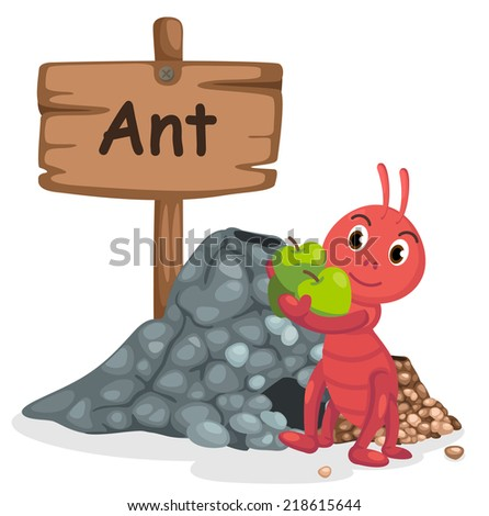 animal alphabet letter A for ant illustration vector - stock vector