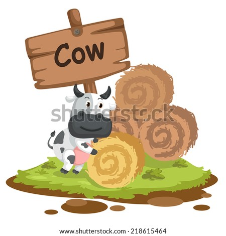 animal alphabet letter C for cow illustration vector - stock vector