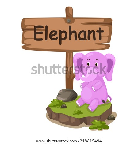 animal alphabet letter E for elephant illustration vector - stock vector