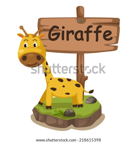 animal alphabet letter G for giraffe illustration vector - stock vector