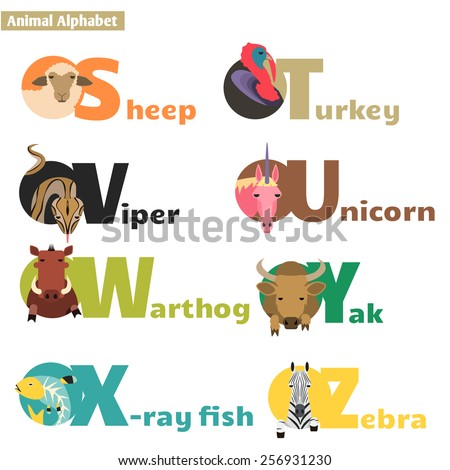Animal alphabet S T U V W X Y Z. Letters  Vector Illustration - stock vector