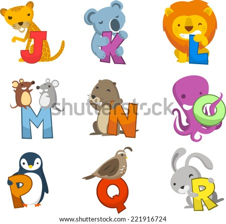 Animal alphabet with letters, numbers or symbols. With giraffe, koala, lion, rats, mouse, mice, beaver, octopus, penguin, bird and rabbit. Letters J, k, l, m, n o, p q, r - stock vector