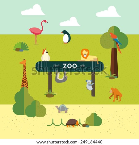 Animal and Zoo - stock vector