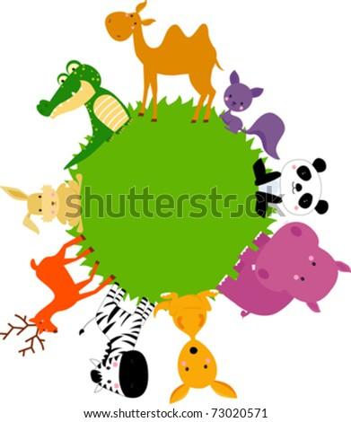 animal around world - stock vector