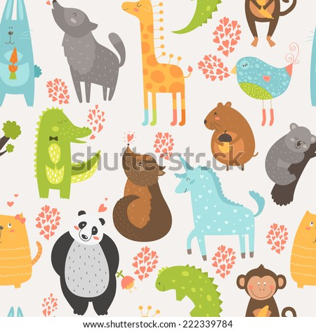 Animal background with cute bird, alligator, dog, giraffe, rabbit, vole, panda, monkey, wolf, unicorn, koala and cat. Zoo love seamless pattern - stock vector