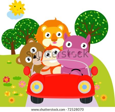 animal car - stock vector