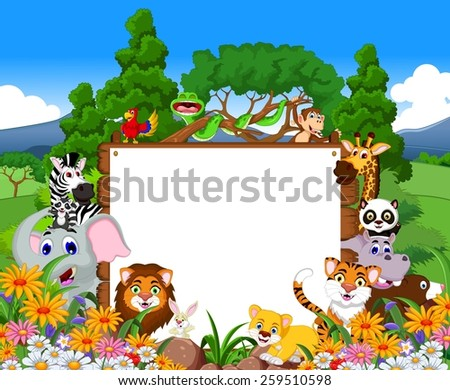 animal cartoon collection with blank board and tropical forest background - stock vector