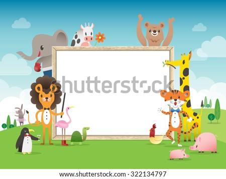 Animal cartoon frame border template with whiteboard vector illustration