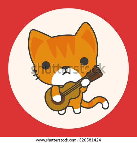 animal cat playing instrument cartoon theme elements