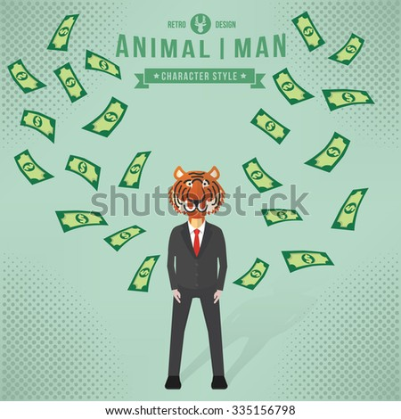 Animal character concept,businessman design,clean vector