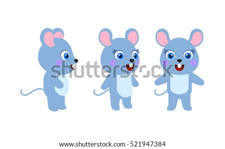 Animal character mouse on white background