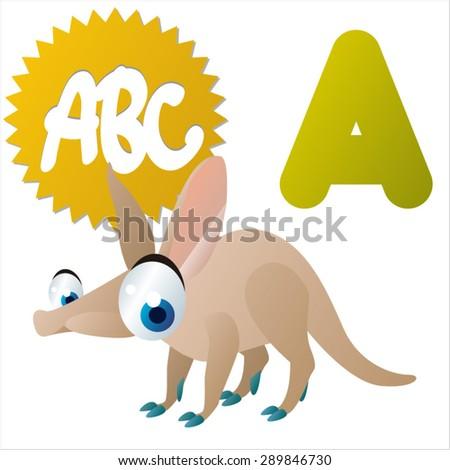 animal children alphabet: A is for Aardvark - stock vector
