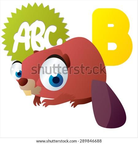 animal children alphabet: B is for Beaver - stock vector