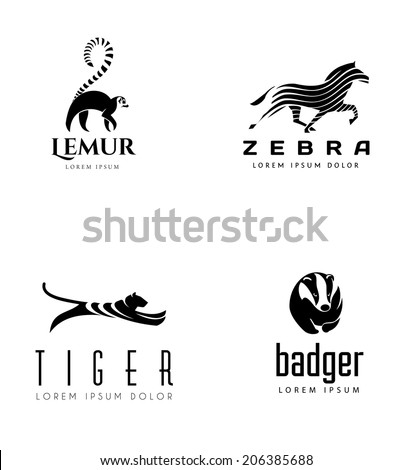 Animal Emblem Collection. Lemur, Horse, Tiger and Badger - stock vector