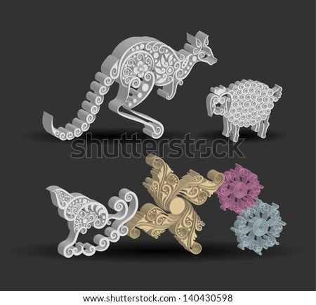 Animal Engraving Ornament, kangaroo, sheep, snail. Three dimensional effect with shadow. Smooth and detail vector, can used each animal. - stock vector