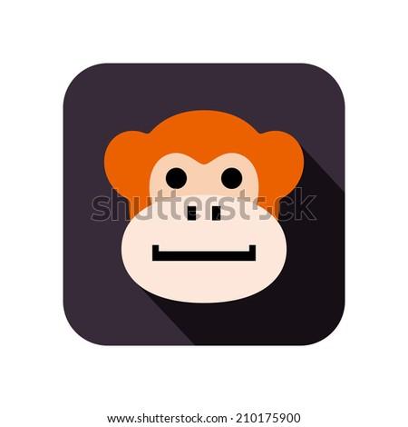 animal face flat icon - stock vector