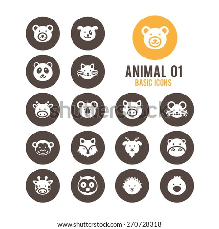 Animal face icons. Vector illustration. - stock vector
