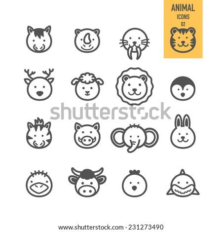 Animal face set. Vector illustration. - stock vector
