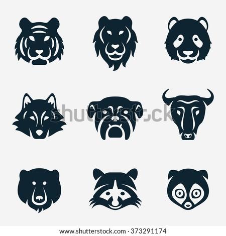 Animal face vector icon set - stock vector