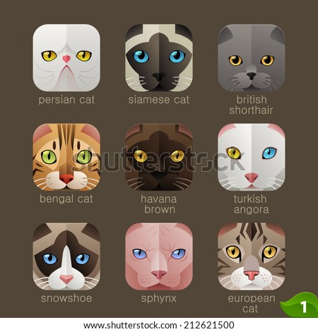 Animal faces for app icons-cats set - stock vector
