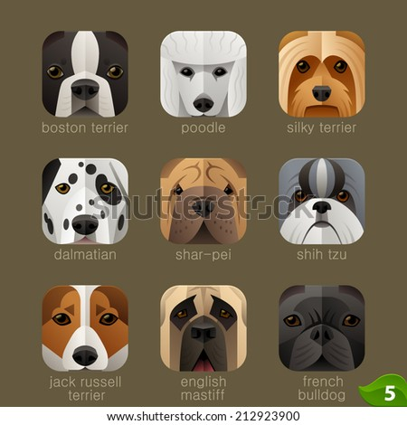 Animal faces for app icons-dogs set 4 - stock vector