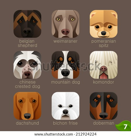Animal faces for app icons-dogs set 6 - stock vector