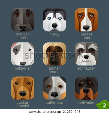 Animal faces for app icons-dogs set 1 - stock vector