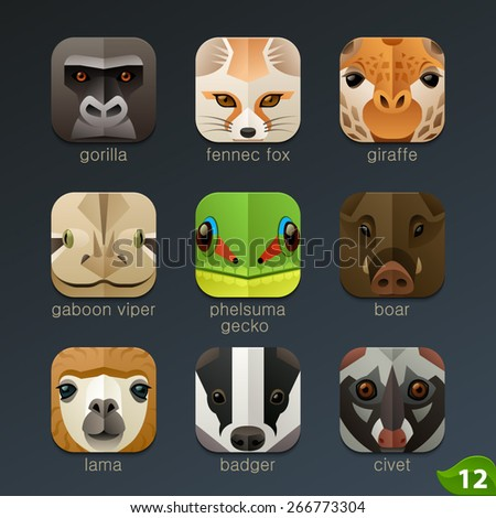 Animal faces for app icons-set 12 - stock vector