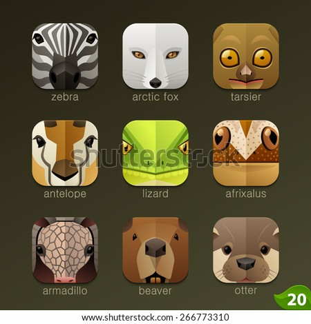 Animal faces for app icons-set 20 - stock vector