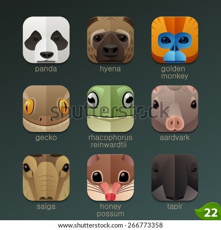 Animal faces for app icons-set 22 - stock vector