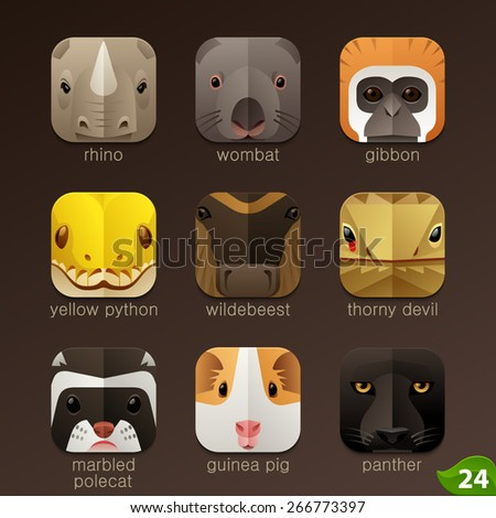 Animal faces for app icons-set 24