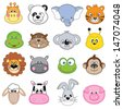 Animal Faces Set. Vector - stock vector