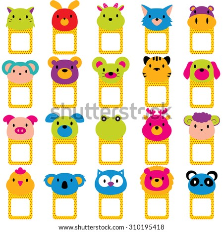 animal faces text frames clip art set