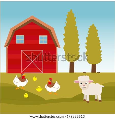 Animal Farm Background Vector Stock Vector 679585513