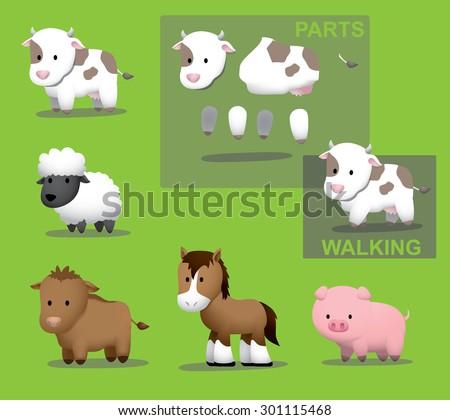 Animal Farm Cow Cattle Horse Pig Sheep Vector Illustration - stock vector