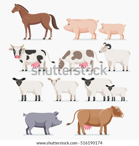 Animal farm set. The horse pig cow goat and sheep. Vector illustration flat design.